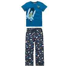 Buy Fat Face Boys' Cotton Space Print Pyjama Set, Navy Online at johnlewis.com