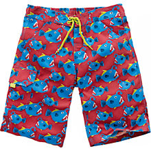 Buy Fat Face Boys' Fish Print Board Shorts, Red Online at johnlewis.com