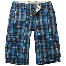 Buy Fat Face Boys' Ridley Check Cargo Shorts, Navy/Multi Online at johnlewis.com