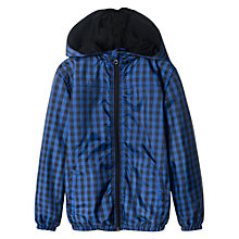 Buy Mango Kids Water Repellent Checked Hoodie, Blue Online at johnlewis.com