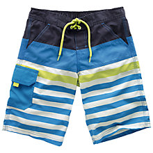 Buy Fat Face Boys' Block Stripe Board Shorts, Cobalt Blue Online at johnlewis.com