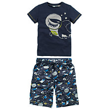 Buy Fat Face Boys' Shortie Pyjama Set, Navy Online at johnlewis.com