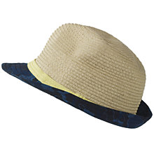 Buy Fat Face Children's Camo Shark Print Straw Trilby Hat, Natural Online at johnlewis.com