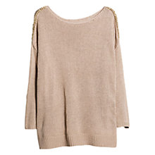 Buy Violeta by Mango Link Detail Jumper, Pastel Brown Online at johnlewis.com