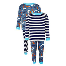 Buy John Lewis Boy Dogs & Stripes Pyjamas, Pack of 2, Blue/Multi Online at johnlewis.com