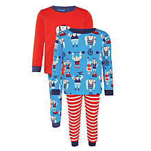 Buy John Lewis Boy Strongman Pyjamas, Pack of 2, Red/Blue Online at johnlewis.com
