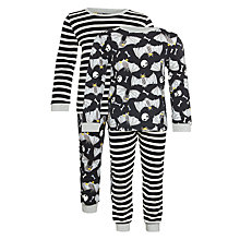 Buy John Lewis Boys' Bat & Skull Print Pyjamas, Pack of 2, Black Online at johnlewis.com