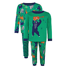 Buy John Lewis Boy Music Bear Pyjamas, Pack of 2, Green Online at johnlewis.com
