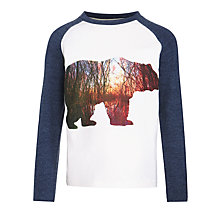 Buy John Lewis Boy Forest Bear Long Sleeve T-Shirt, White/Blue Online at johnlewis.com