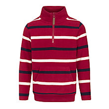 Buy John Lewis Boy Half Zip Stripe Fleece, Red Online at johnlewis.com