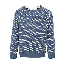 Buy John Lewis Boy Birdseye Chunky Crew Neck Jumper, Blue Online at johnlewis.com