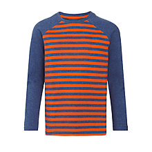 Buy John Lewis Boy Stripe Melange Long Sleeve T-Shirt, Orange/Blue Online at johnlewis.com