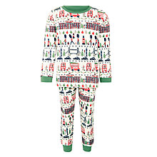 Buy John Lewis Boy London Christmas Pyjamas, Green/White Online at johnlewis.com