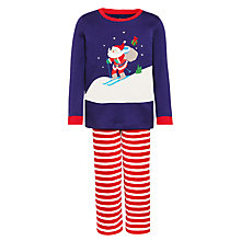 Buy John Lewis Boys' Fleece Ski Santa Pyjamas, Navy/Red Online at johnlewis.com