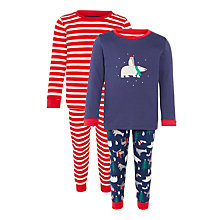 Buy John Lewis Boy Polar Bear Pyjamas. Navy/Red Online at johnlewis.com