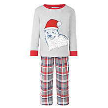 Buy John Lewis Boys' Festive Polar Bear Pyjamas, Grey/Red Online at johnlewis.com