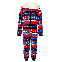 Buy John Lewis Boy Festive Fairisle Onesie, Red/Blue Online at johnlewis.com