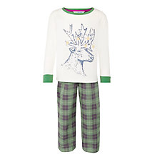 Buy John Lewis Boys' Festive Deer Pyjamas, Green/White Online at johnlewis.com