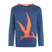 Buy John Lewis Boy Dino Knitted Jumper, Blue/Orange Online at johnlewis.com