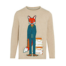 Buy John Lewis Boy Dapper Fox Long Sleeve T-Shirt, Brown Marl Online at johnlewis.com