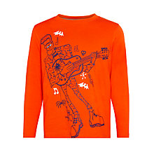 Buy John Lewis Boy Rocking Monster Glow In The Dark T-Shirt, Orange Online at johnlewis.com