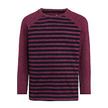 Buy John Lewis Boy Stripe Melange Long Sleeve T-Shirt, Berry/Navy Online at johnlewis.com