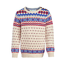 Buy John Lewis Boy Button Neck Pattern Knit Jumper, Multi Online at johnlewis.com