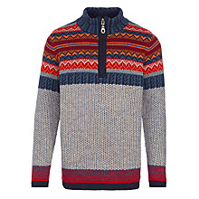 Buy John Lewis Boy Fair Isle Zip Neck Jumper, Multi Online at johnlewis.com