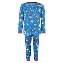 Buy John Lewis Boy Festive Ski Pyjamas, Blue Online at johnlewis.com