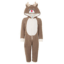 Buy John Lewis Boy's Reindeer Christmas Onesie, Brown Online at johnlewis.com
