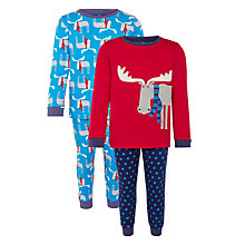 Buy John Lewis Boy's Moose Pyjamas, Pack of 2, Red/Blue Online at johnlewis.com