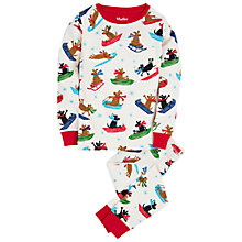 Buy Hatley Boys' Christmas Sledging Dogs Print Pyjamas, White Online at johnlewis.com