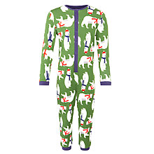 Buy John Lewis Boy's Festive Polar Bear Onesie, Green Online at johnlewis.com
