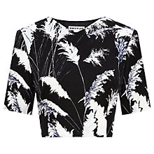 Buy Whistles Pari Print Cropped Top, Black / White Online at johnlewis.com