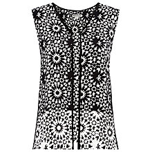 Buy Whistles Mosaic Piped Seam Top, Black / White Online at johnlewis.com