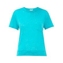 Buy Whistles Pocket Linen Tee, Turquoise Online at johnlewis.com