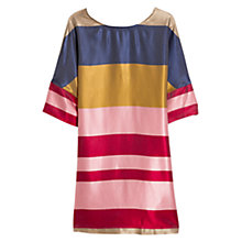 Buy Mango Striped Satin Dress, Navy Online at johnlewis.com