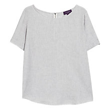 Buy Violeta by Mango Striped Linen Top, Off White Online at johnlewis.com
