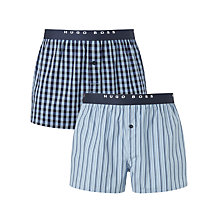 Buy BOSS Woven Check and Stripe Boxers, Pack of 2 Online at johnlewis.com