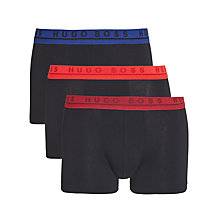 Buy BOSS Stretch Cotton Coloured Waistband Trunks, Pack of 3, Black Online at johnlewis.com