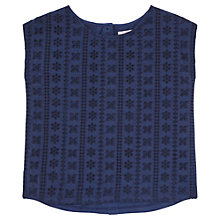 Buy Jigsaw Junior Girls' Back Placket Broidery Top, Navy Online at johnlewis.com