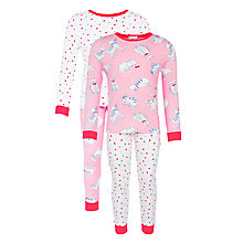 Buy John Lewis Girl Cat & Spot Print Pyjamas, Pack of 2, Pink Online at johnlewis.com