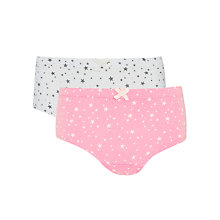 Buy John Lewis Girl Star Print Organic Cotton Hipster Briefs, Pack of 2, Pink/White Online at johnlewis.com