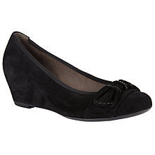 Buy Gabor Tenerife Suede Wedge Court Shoes, Black Online at johnlewis.com