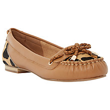 Buy Dune Glancer Leather Boat Shoes, Tan Online at johnlewis.com