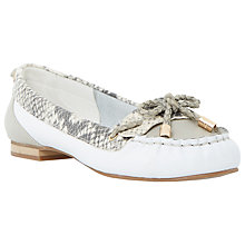 Buy Dune Glancer Leather Boat Shoes, White Online at johnlewis.com