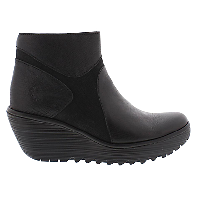 Fly Yago Leather Wedge Ankle Boots