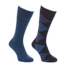 Buy BOSS Argyle and Solid Socks, Pack of 2, Blue Online at johnlewis.com