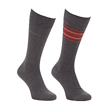 Buy BOSS Stripe and Solid Socks, Pack of 2, Grey/Red Online at johnlewis.com