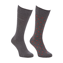 Buy BOSS Dot and Solid Socks, Pack of 2, Grey Online at johnlewis.com